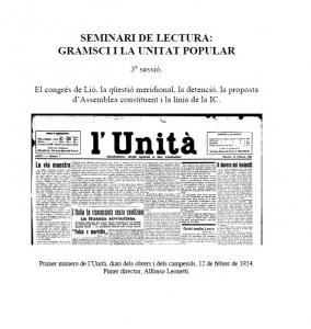 Seminiari de lectura Gramsci i la unitat popular. 3ª sessió : El congrés de Lió, la qüestió meridional, la detenció, la proposta d'Assemblea constituent i la línia de la IC