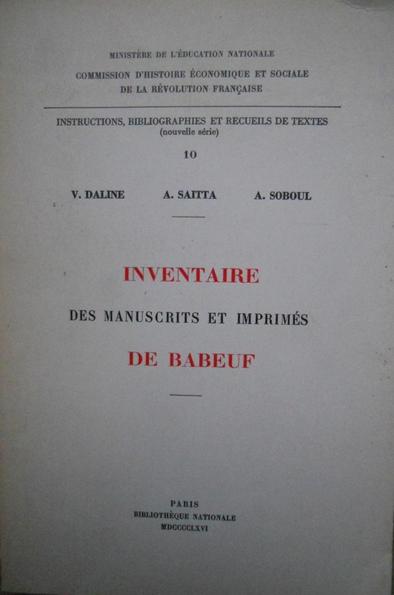 Inventaire des manuscrits et imprimés de Babeuf