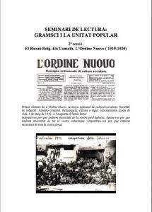 Seminari de lectura: Gramsci i la unitat popular. 2ª sessió : El Bienni Roig. Els Consells. L'Ordine Nuovo ( 1919-1920)